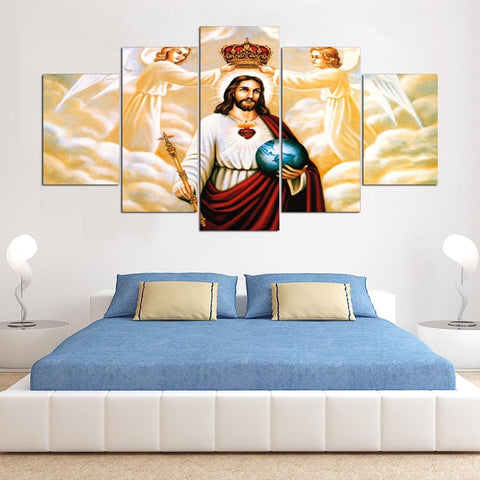 5 Panels Jesus Canvas Painting Modern Decor Canvas Wall Art HD Print