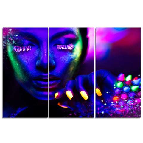 Poster Art Print Wall 3 Pieces/Pcs Purple Phosphor Face Picture Color Makeup Woman HD Sexy Beauty Canvas Painting Living Room