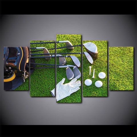 5 Panel Framed Golf Lifestyle Modern Décor Canvas Wall Art HD Print
