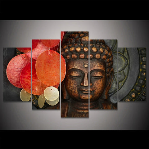 5 Panel Buddha Modern Decor Canvas Wall Art HD Print
