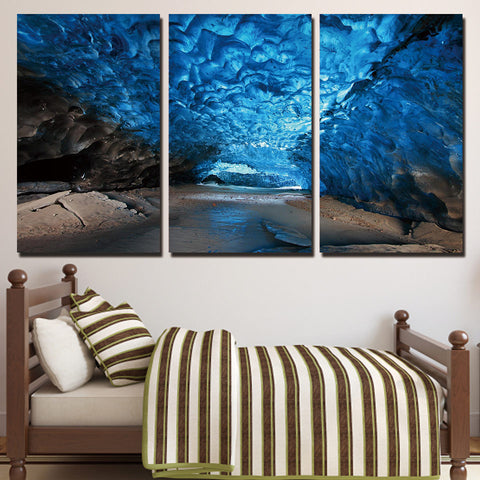 3 Piece Ice Cave Abstract Landscape Modern Decor Canvas Wall Art HD Print