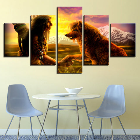 5 Panel Native American Indian With Wolf Modern Decor Canvas Wall Art HD Print