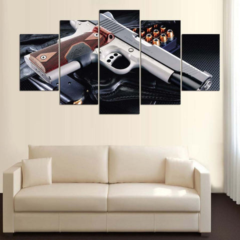 5 Panel 1911 Handgun with Hollow Points Modern Décor Wall Art Canvas HD Print