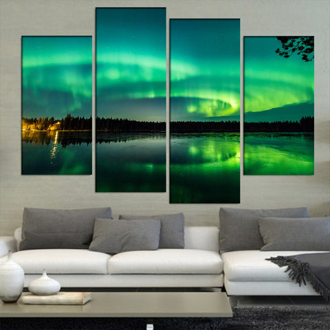 4 Panel Green Aurora Night Sky Modern Decor Canvas Wall Art HD Print