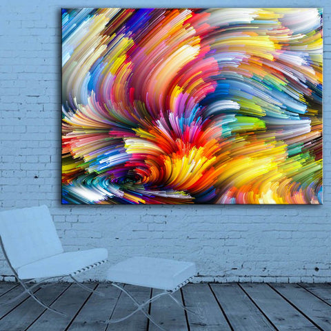 1 Piece Colored Lines Modern Abstract Wall Art Print