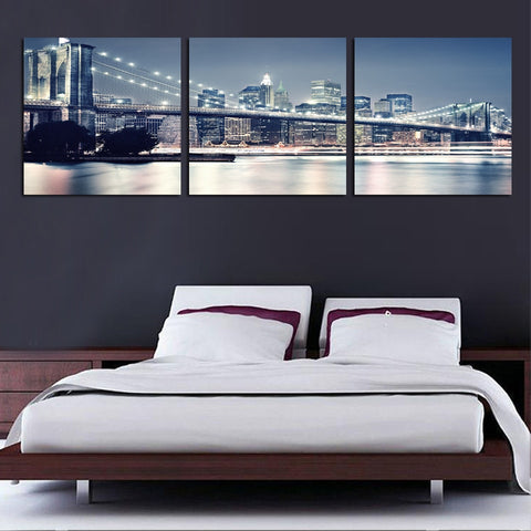 3 Panel New York Brooklyn Bridge at Night Modern Décor Wall Art Canvas HD Print