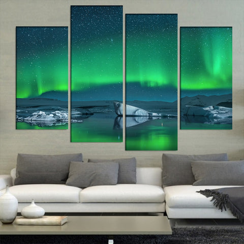 4 Panel Green Aurora with Starry Sky Modern Decor Canvas Wall Art HD Print