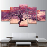 5 Panel Purple & Red Tree Modern Decor Canvas Wall Art HD Print