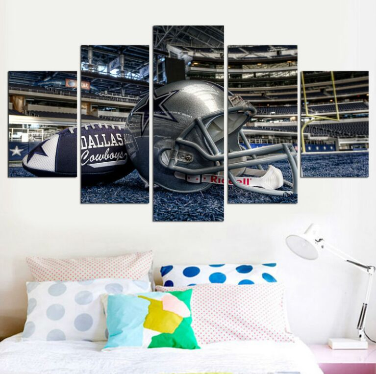 5 Panels Framed NFL Gridiron Dallas Cowboys Abstract Photo Modern Decor Canvas Wall Art HD Print