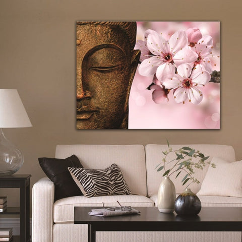 Buddha in Peach Blossoms Modern Decor Canvas Wall Art HD Print