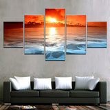 Canvas Wall Art Home Decor Poster Framework 5 Pieces Beach Sea Waves Pictures Sunset Glow Tinted The Sky Red Paintings Wall Art
