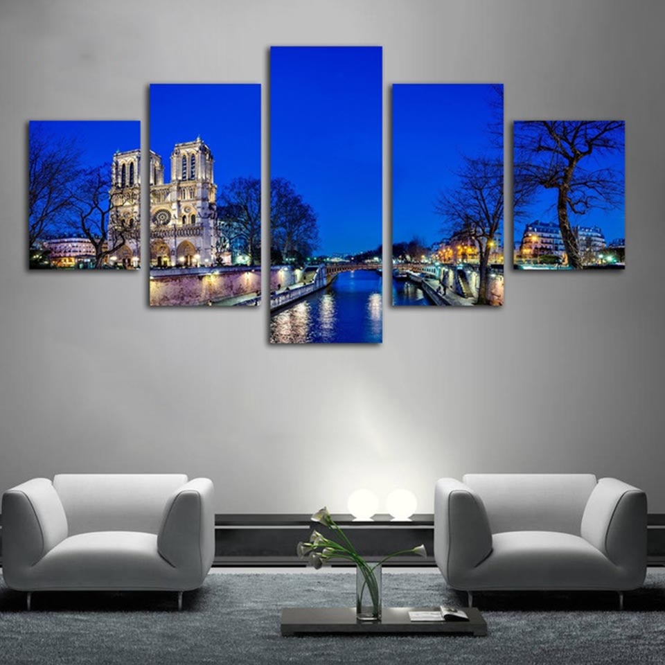 5 Panel Notre Dame Cathedral Paris Night View Modern Décor Wall Canvas HD Print