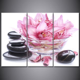 3 Panel Pink Lily Petals Stone Modern Decor Canvas Wall Art HD Print