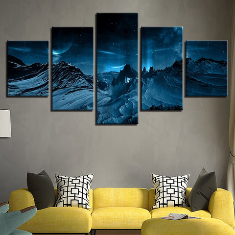 5 Panel Snow Mountains In The Moonlight Modern Decor Canvas Wall Art HD Print