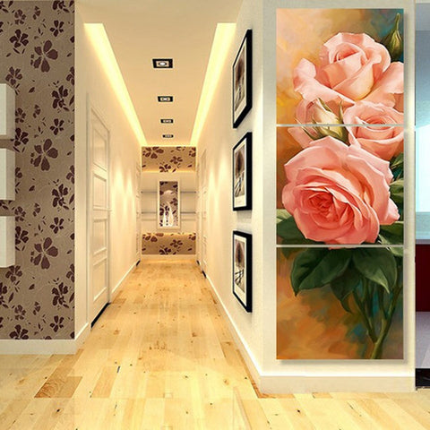 Style Wall Modular Pictures Decoration 3 Panel Beautiful Flower Art Canvas Painting For Living Room Cuadros Modern Framework