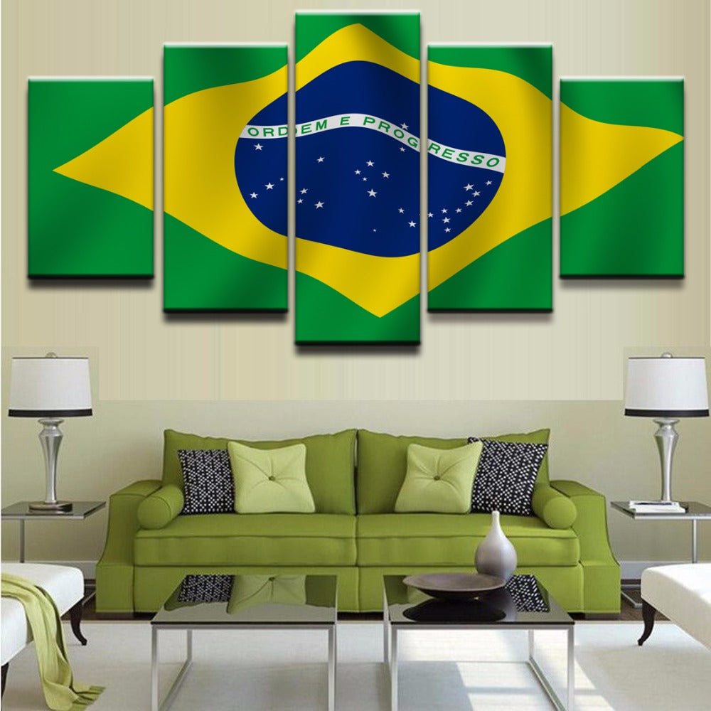 5 Panel Flag of Brazil Modern Décor Wall Art Canvas HD Print
