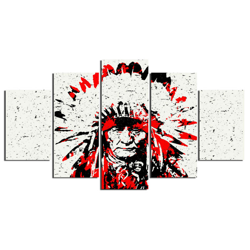 5 Panel Native American Indian Chief Modern Décor Wall Art Canvas HD Print