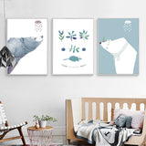 Nordic Style Watercolor Bear Modern Canvas Wall Art