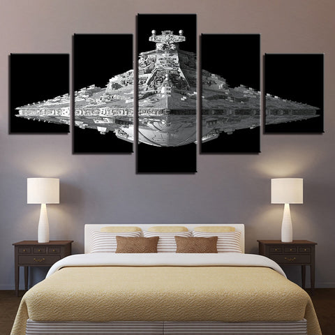 5 Panel Star Wars Imperial Star Destroyer Modern Decor Canvas Wall Art HD Print