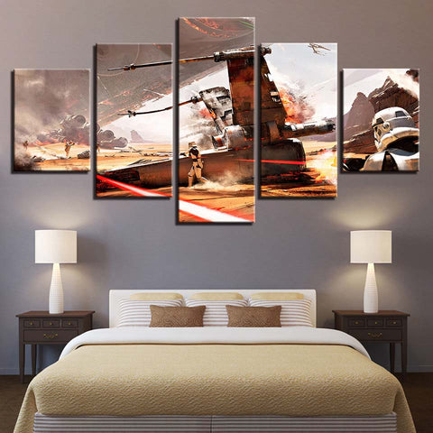 5 Panel Star Wars Downed X-Wing Modern Decor Canvas Wall Art HD Print