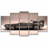 5 Panel Back To The Future Delorean Decor Canvas Wall Art HD Print