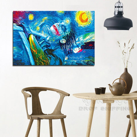 Joker The Dark Knight Rises Starry Night Modern Décor Wall Art Canvas HD Print