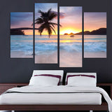 4 Panel Tropical Beach Sunset Modern Decor Canvas Wall Art HD Print