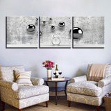 3 Panel Abstract Gray Balls And Concrete Modern Decor Canvas Wall Art HD Print