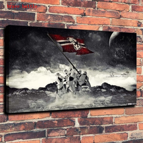 Star Wars Iwo Jima Flag Raising Framed Modern Décor Canvas Wall Art HD Print