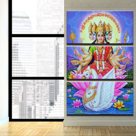 3 Pieces Hindu Goddess Gayatri Devi Mata Modern Decor Canvas Wall Art HD Print