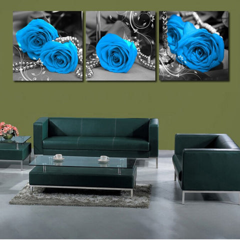 3 Pc Beautiful Blue Flower Canvas Wall Art HD Print
