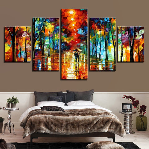 5 Pieces Abstract Color Tree Pictures Walking In The Rain Paintings Wall Art Framework