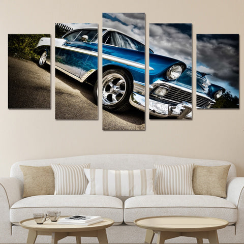 5 Panel Classic Blue Vintage Car Landscape Modern Décor Wall Art Canvas HD Print