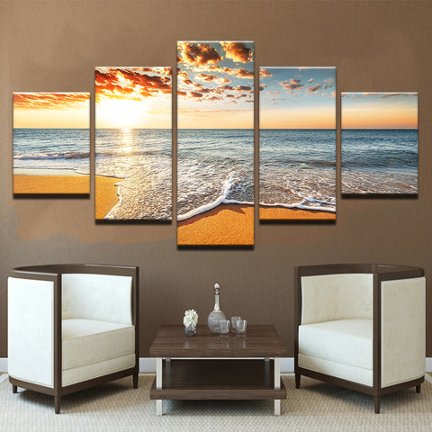 5 Panel Sunshine Beach Sea Waves Modern Décor Canvas Wall Art HD Print.