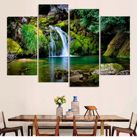 4 Panel Waterfall and lagoon Modern Decor Canvas Wall Art HD Print