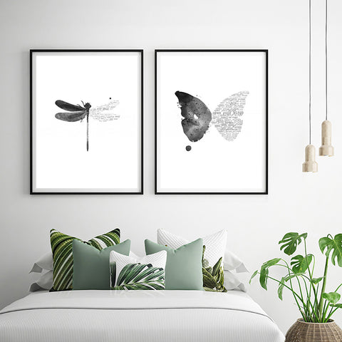Nordic Style Butterfly Dragonfly Modern Decor Canvas Wall Art HD Print
