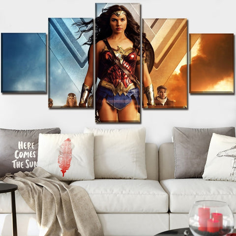 5 Panel Framed Wonder Woman Looking Good Modern Décor Canvas Wall Art HD Print