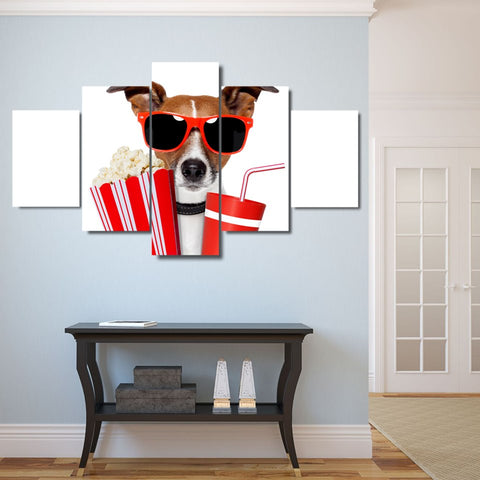 5 Panel Cool Dog Modern Décor Canvas Wall Art HD Print.