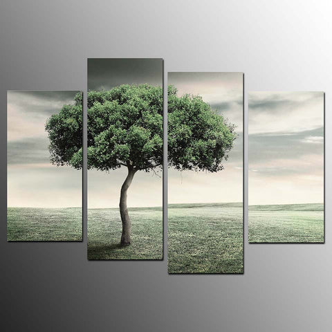 4 Pieces Prairie Lonely Green Tree Modern Decor Canvas Wall Art HD Print
