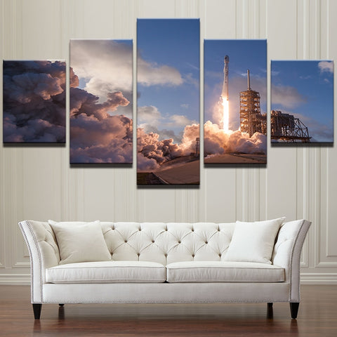 5 Panel Rocket Launch Landscape Modern Décor Wall Art Canvas HD Print