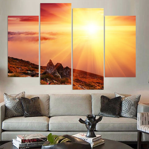 4 Panel Morning Sunshine Over A Mountain Modern Decor Canvas Wall Art HD Print