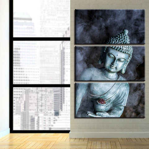 3 Panel Smog Buddha Statue Modern Decor Canvas Wall Art HD Print