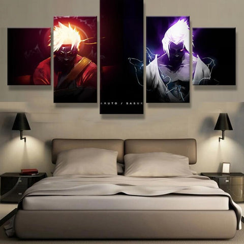 Canvas Pictures For Living Room Wall Art 5 Pieces Naruto VS Sasuke Anime Paintings Modular Prints Poster Cuadros Home Decoration