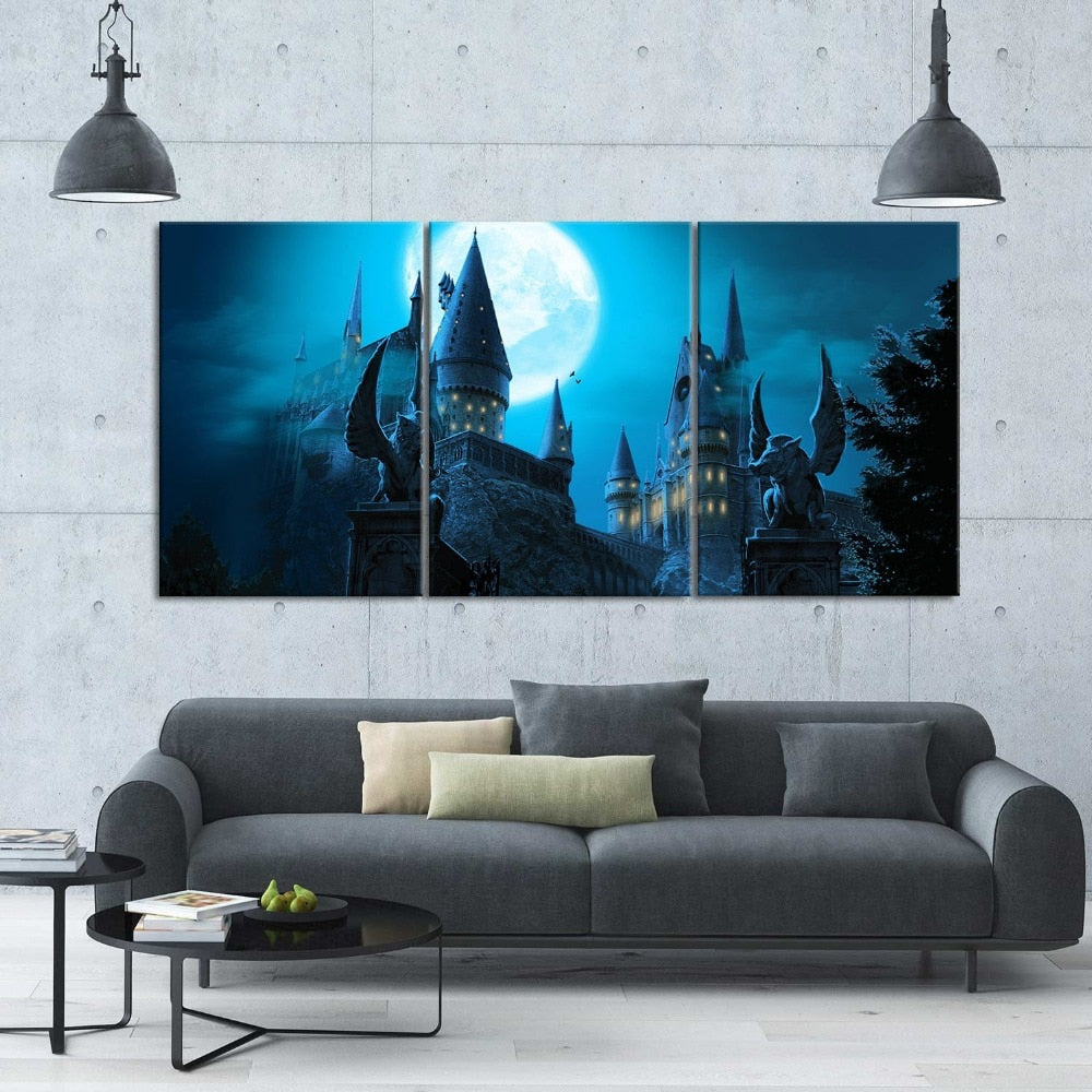 3 Pc Harry Potter Castle Modern Decor Canvas HD Print