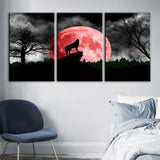 3 Panel Framed Red Moon Wolf Landscape Modern Décor Canvas Wall Art HD Print