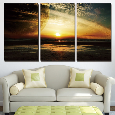 3 Piece Sunset Planet Modern Decor Canvas Wall Art HD Print