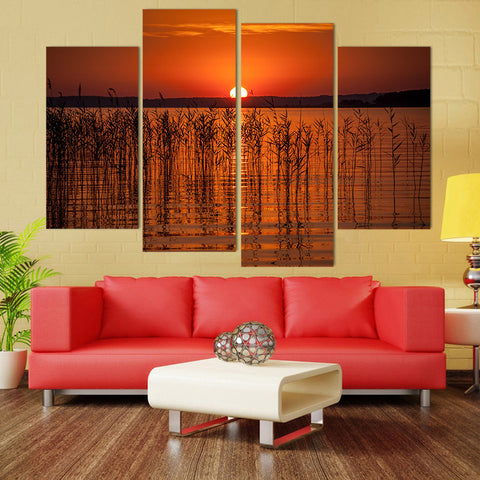 4 Panel Sunset Over Reeds Modern Decor Canvas Wall Art HD Print