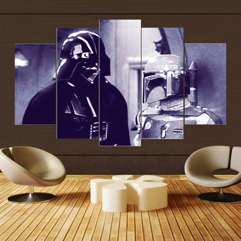 5 Panel Star Wars Darth Vader Boba Fett Modern Decor Canvas Wall Art HD Print