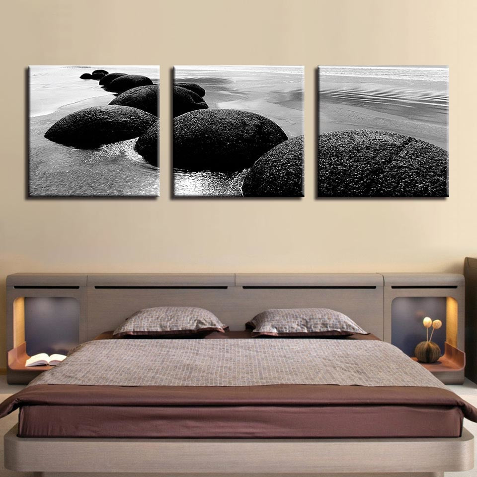 3 Piece Beach Reef Stones Modern Canvas Wall Art HD Print