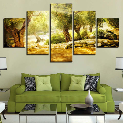 5 Panel Sunlight Through The Forest Modern Decor Canvas Wall Art HD Print